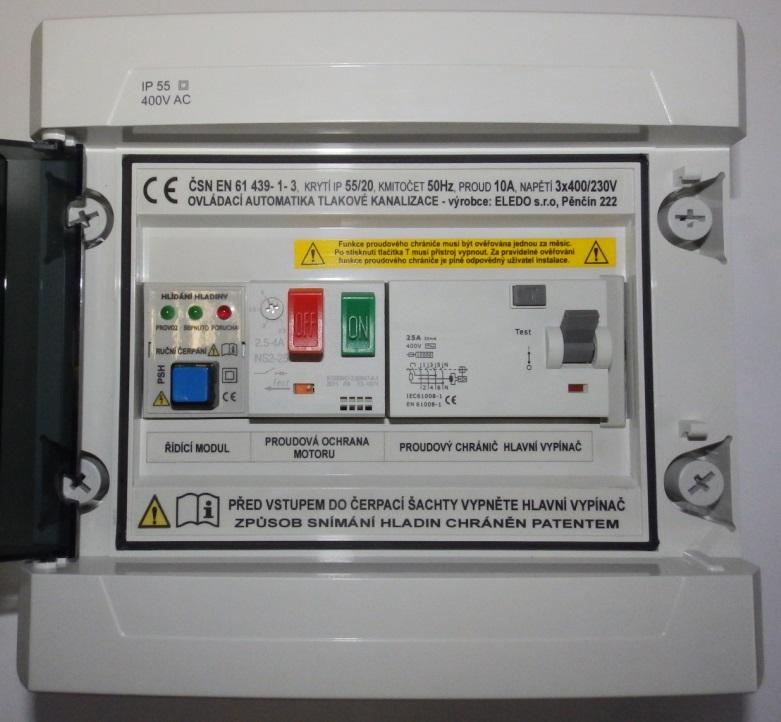 OPTIMAL ovládací automatika s proudovým chráničem pro čerpadlo tlakové kanalizace